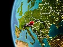 L'Austria da spazio nella sera Immagine Stock