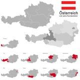L'Austria e stati federali Fotografia Stock Libera da Diritti