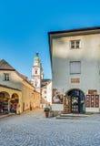 L'Austria, Salisburgo Studio d'annata della foto Cattedrale famosa &#x28 di Salisburgo; Salzburger Dom) a Domplatz, terra di Sali Fotografia Stock