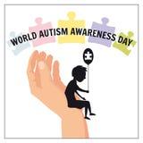 L'autisme, un petit garçon seul se repose sur la main d'un adulte, sur un fond des puzzles, vecteur, illustration, d'isolement illustration libre de droits