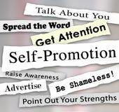 L'Auto-promotion met l'attention en vedette de publicité de vente Photos libres de droits