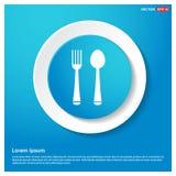 L'autoadesivo blu di web dell'estratto dell'icona della forchetta e del cucchiaio si abbottona royalty illustrazione gratis