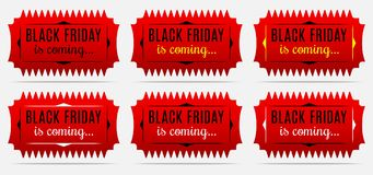 L'autoadesivo di Black Friday sta venendo Festa di Black Friday Fotografia Stock