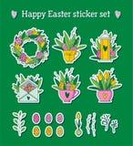 L'autoadesivo felice di Pasqua ha messo con i tulipani, le uova e greenary Immagini Stock Libere da Diritti