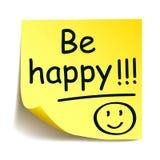 L'autoadesivo giallo con il ` nero di Post-it è felice!!! `, mano della nota scritta - vettore Fotografia Stock