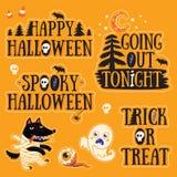 L'autoadesivo ha messo con i personaggi dei cartoni animati ed il testo per Halloween Fotografie Stock Libere da Diritti