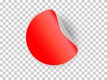 L'autoadesivo rosso del cerchio ha arricciato l'angolo e l'ombra con la trasparenza V Fotografia Stock