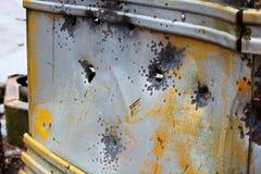 L'autobus abandonné dépouillé à l'des chasseurs campent sur la terre de couronne image stock