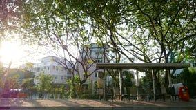 L'autobus de village arrêtent la station avec des arbres et des usines Image stock