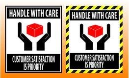 L'autocollant fragile manipulent avec le rouge de signe de symboles d'emballage d'icône de soin illustration libre de droits