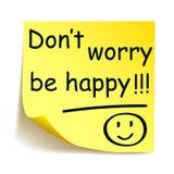 L'autocollant jaune avec l'inquiétude noire du ` t de Don de ` de post-it soit heureux ! ! ! `, main de note écrite - vecteur Image stock