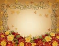 L'automne d'action de grâces laisse et fleurit la conception de cadre Photo stock