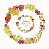 L'automne d'aquarelle s'embranche avec des feuilles, Apple, poire Photo libre de droits