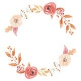L'automne d'Autumn Vintage Wreath Garland Frame d'aquarelle laisse des fleurs Berry Leaf de cercle Photo libre de droits