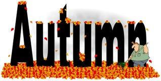 L'automne de mot avec un homme ratissant des feuilles Image libre de droits