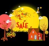 L'automne de ventes avec le fond laisse la chute et la bicyclette sous le clair de lune illustration libre de droits