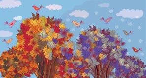 L'automne devient l'hiver Images libres de droits