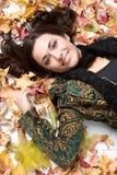 L'automne laisse la femme photo libre de droits