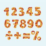 L'automne numérote des feuilles d'alphabet illustration libre de droits