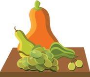 L'automne porte des fruits, potiron, raisins, récolte illustration libre de droits