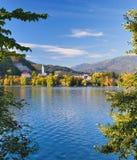 l'automne a saigné le lac Slovénie Image stock