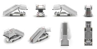 L'automobile delle scale di imbarco del passeggero rende l'insieme dagli angoli differenti su un bianco illustrazione 3D Fotografia Stock