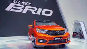 L'automobile di brio RS di Honda ha mostrato in GIIAS 2018 stock footage