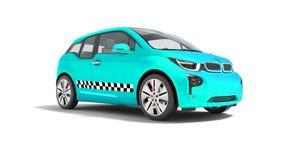 L'automobile elettrica 3d isolato del taxi blu rende sui wi bianchi del fondo illustrazione di stock