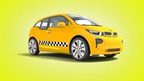 L'automobile elettrica 3d isolato del taxi giallo rende su fondo giallo royalty illustrazione gratis