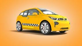 L'automobile elettrica 3d isolato del taxi giallo rende su fondo arancio royalty illustrazione gratis