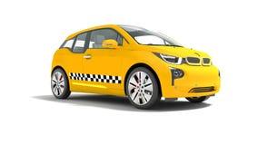 L'automobile elettrica 3d isolato del taxi giallo rende su fondo bianco royalty illustrazione gratis