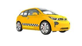 L'automobile elettrica 3d isolato del taxi giallo rende su fondo bianco illustrazione di stock