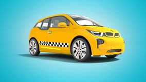 L'automobile elettrica 3d isolato del taxi giallo rende su fondo blu con ombra illustrazione di stock