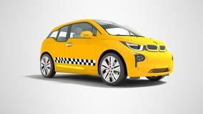 L'automobile elettrica 3d isolato del taxi giallo rende su fondo grigio w illustrazione di stock