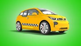 L'automobile elettrica 3d isolato del taxi giallo rende su fondo verde illustrazione vettoriale