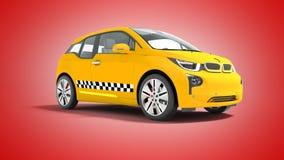L'automobile elettrica 3d isolato del taxi giallo rende sui wi rossi del fondo royalty illustrazione gratis