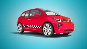 L'automobile elettrica 3d isolato del taxi rosso rende su fondo blu con royalty illustrazione gratis