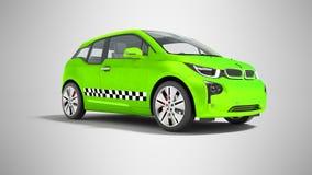 L'automobile elettrica 3d isolato del taxi verde rende sui wi grigi del fondo illustrazione vettoriale