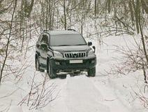 L'automobile fuori strada in legno di inverno Immagine Stock Libera da Diritti