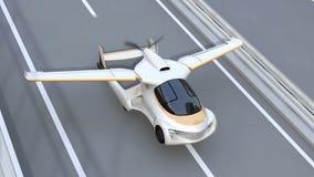 L'automobile futuristica di volo decolla dalla strada principale stock footage