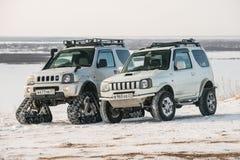L'automobile guida sulle piste nell'inverno Immagine Stock