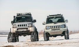 L'automobile guida sulle piste nell'inverno Fotografia Stock Libera da Diritti