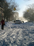 L'automobile ha attaccato nella neve a Brooklyn - bufera di neve 2010 Immagine Stock