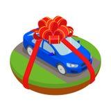 L'automobile isometrica gradisce il regalo nel concetto piano del trasporto di vettore Immagine Stock