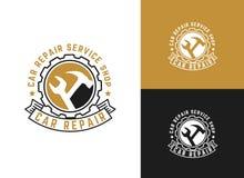 L'automobile, la conception de logo de service des réparations de voiture, clé dans l'icône de vitesse, mécanicien usine l'illust illustration libre de droits