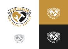 L'automobile, la conception de logo de service des réparations de voiture, clé dans l'icône de vitesse, mécanicien usine l'illust illustration de vecteur
