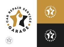 L'automobile, la conception de logo de service des réparations de voiture, clé dans l'icône de vitesse, mécanicien usine l'illust illustration stock