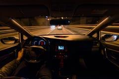 L'automobile nel movimento alla notte Immagine Stock Libera da Diritti