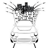 L'automobile nella città Fotografia Stock Libera da Diritti