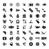 L'automobile nera parte le icone Fotografie Stock Libere da Diritti